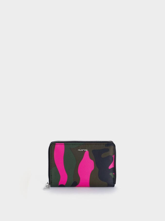 Portefeuille Compact En Nylon Avec Imprimé, Kaki, hi-res