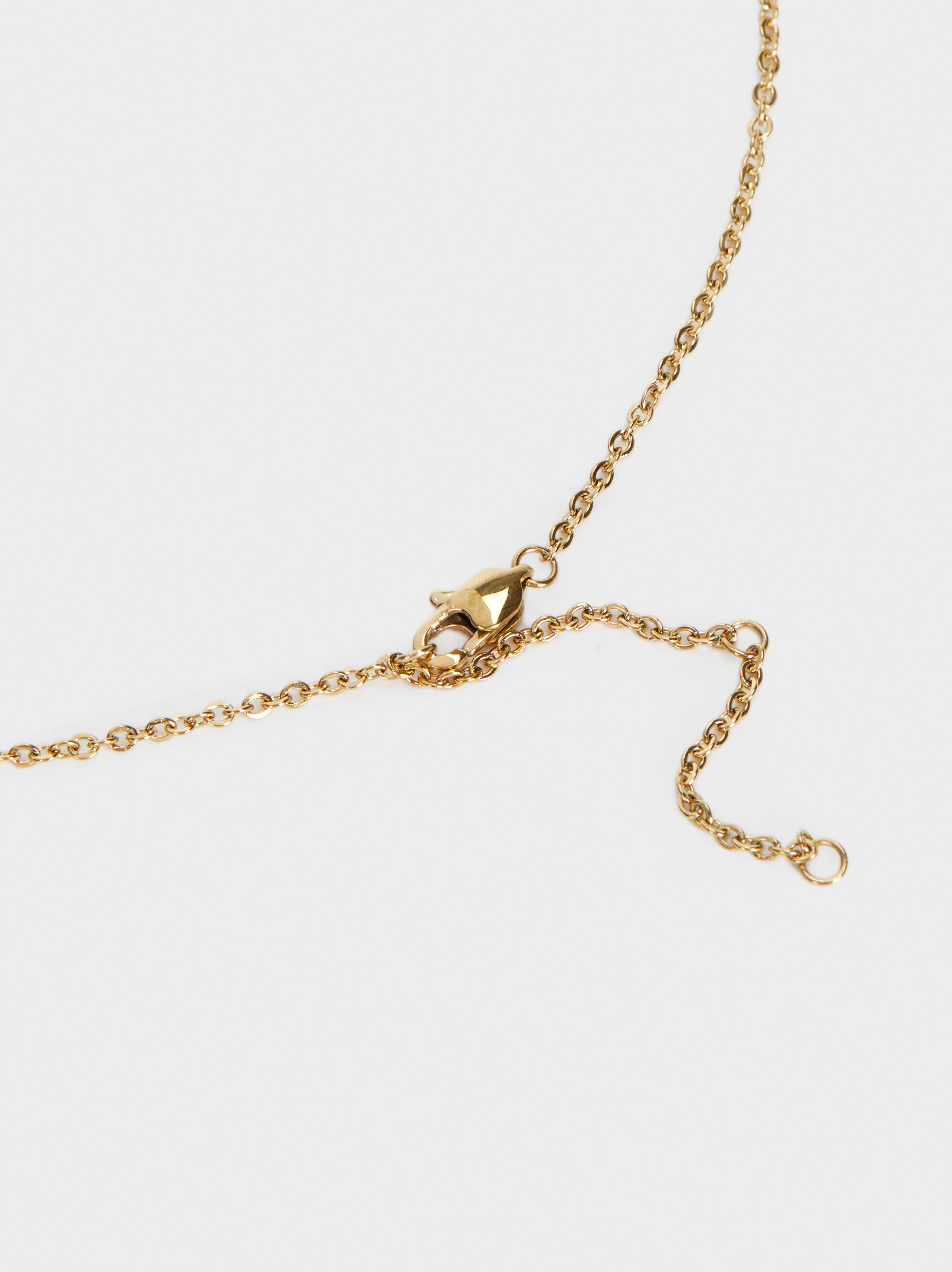 Short Steel Necklace With Pendant, Golden, hi-res