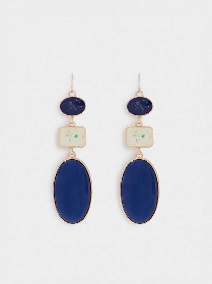 Long Dangle Geometric Earrings, Multicolor, hi-res