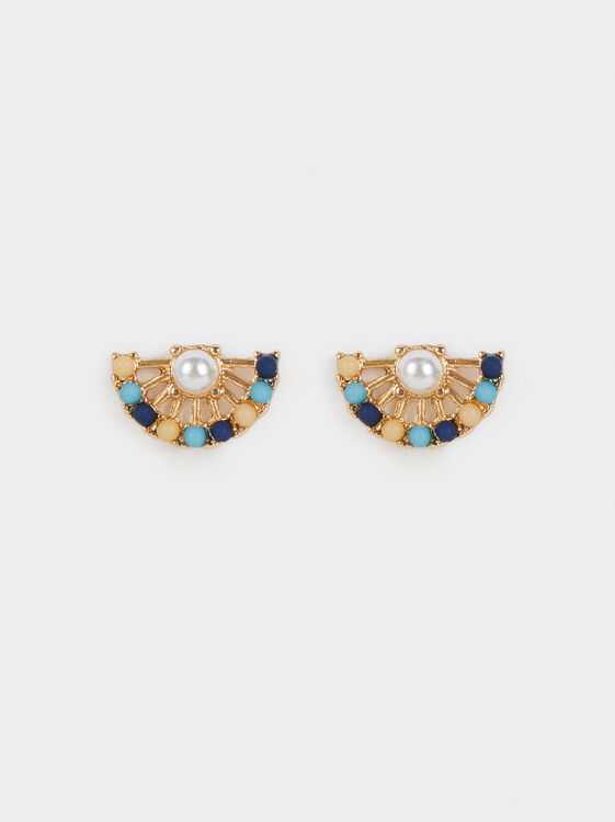 Zorba Faux Pearl Short Earrings, Multicolor, hi-res