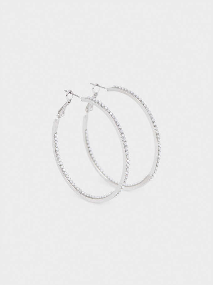 Large Gold Hoop Earrings, Silver, hi-res