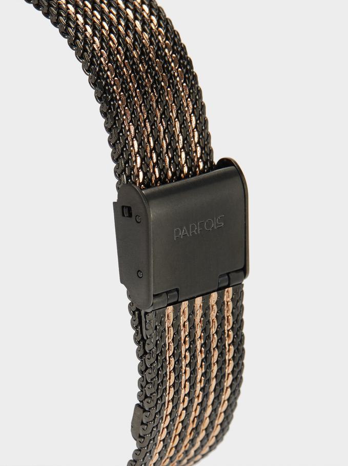 Montre-Bracelet En Maille Métallique Bicolore, Noir, hi-res