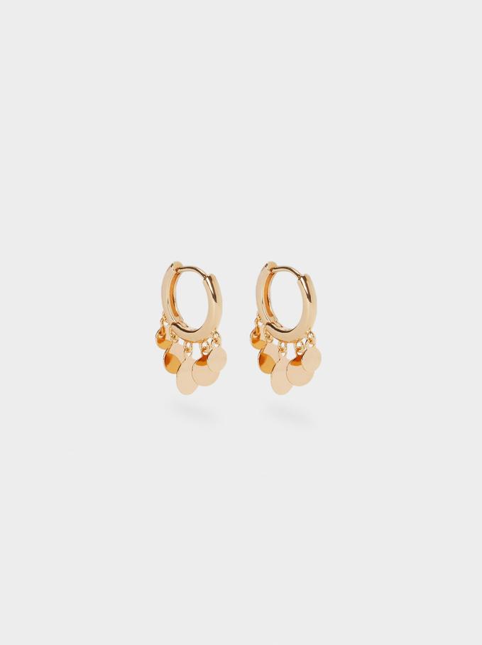 Small Hoop Earrings With Pendants, Golden, hi-res