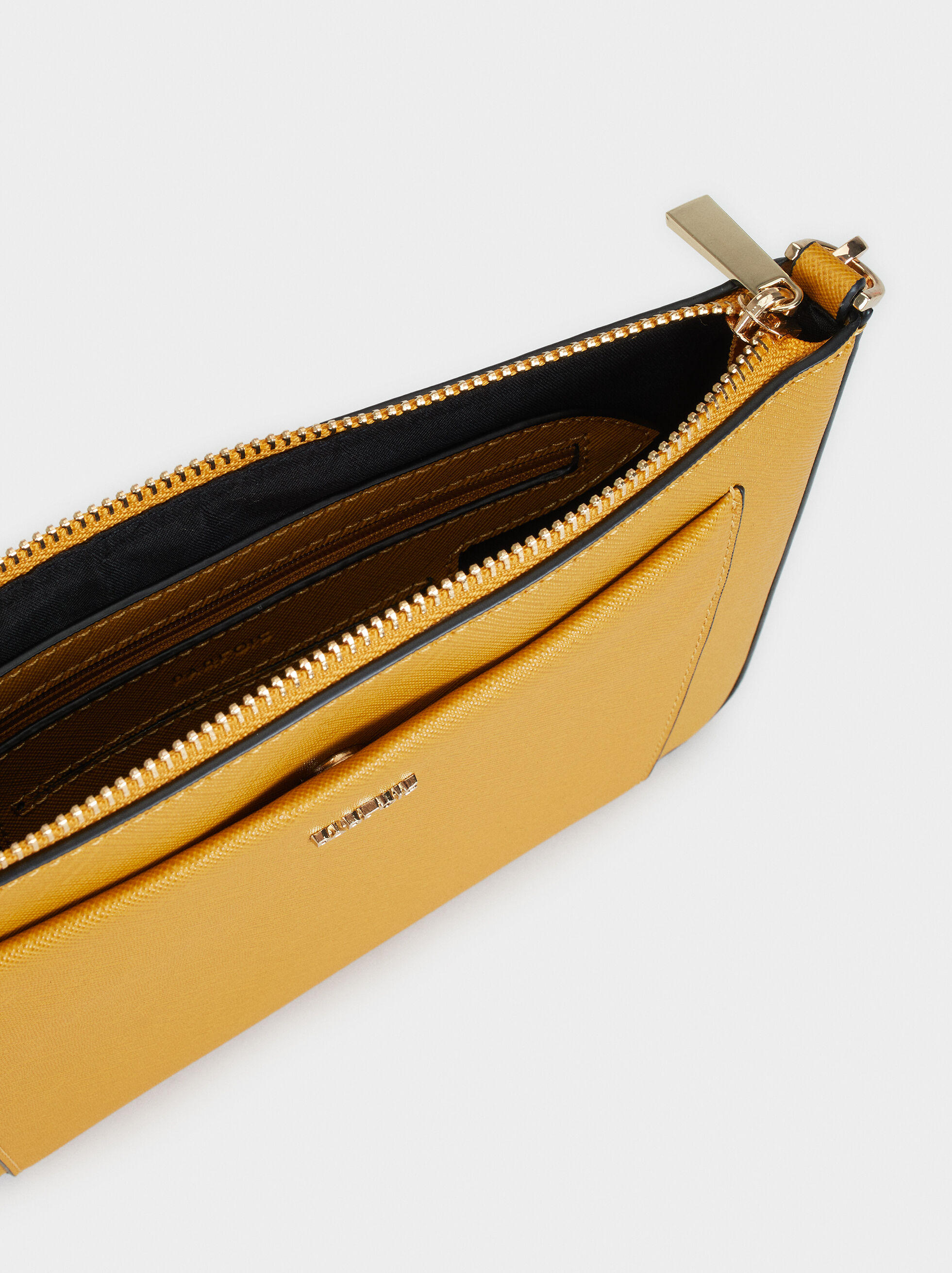 Crossbody Bag With Outer Pocket, Mustard, hi-res