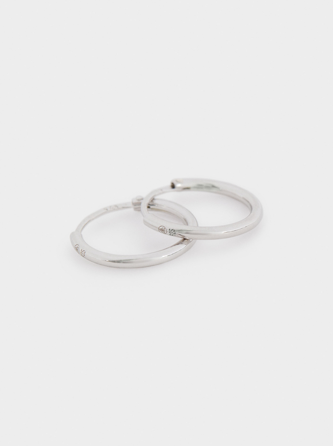 Short 925 Silver Hoop Earrings, Silver, hi-res