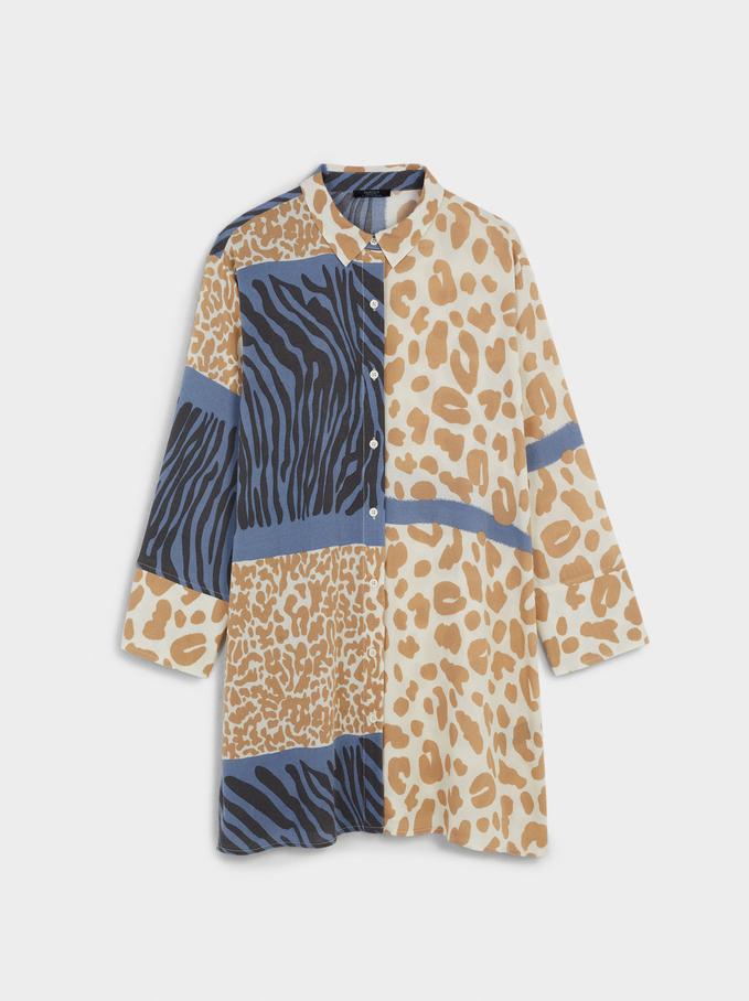 Printed Shirt Dress, Multicolor, hi-res