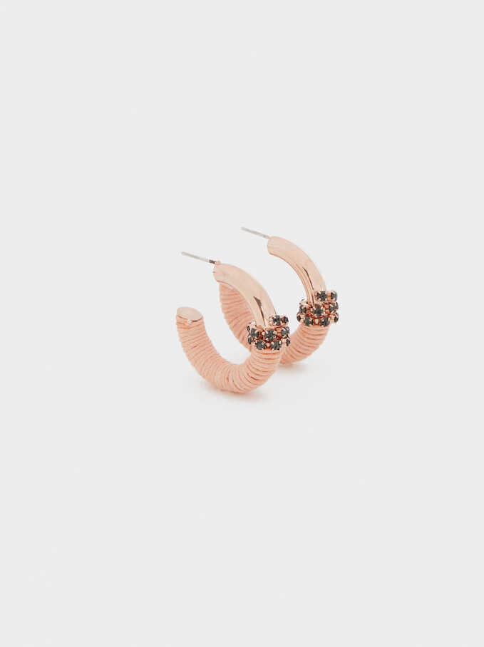 Rose Gold Small Hoop Earrings With Crystal Detail, Orange, hi-res
