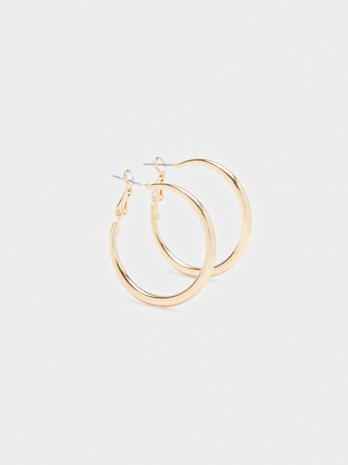 Medium Hoop Earrings With Multicoloured Circle Detail, Black, hi-res