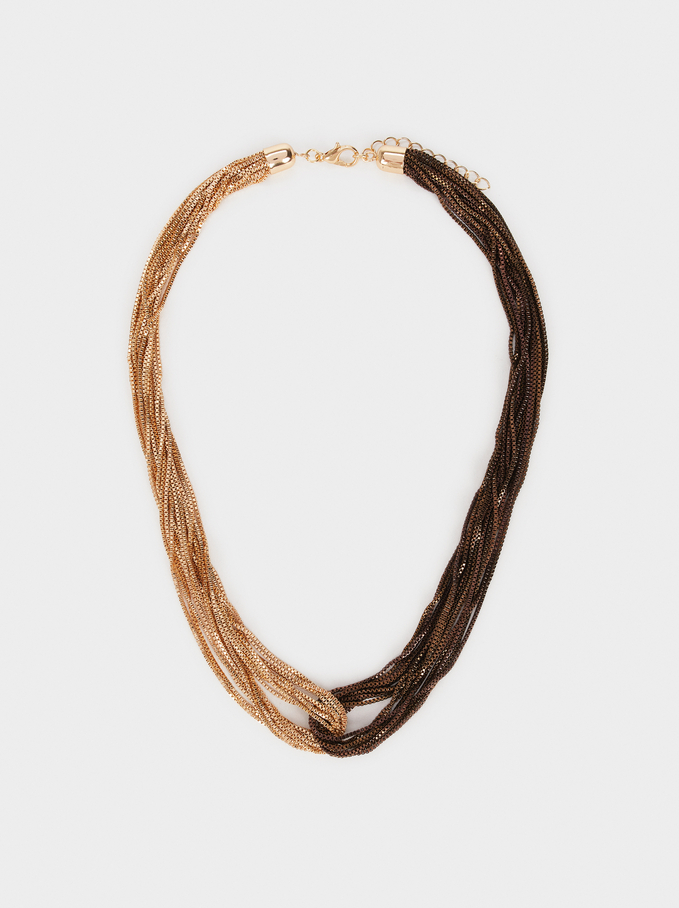 Creme Two-Toned Short Necklace , Multicolor, hi-res