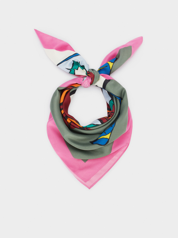 Printed Square Neckerchief Made From Recycled Materials, Multicolor, hi-res
