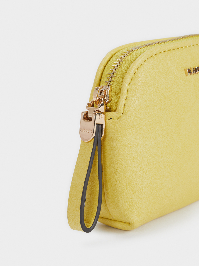 Embossed Purse With A Zip Fastening, Yellow, hi-res