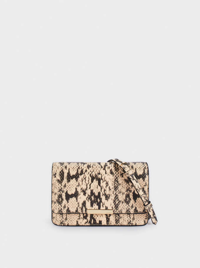 Embossed Animal Print Party Crossbody Bag, Beige, hi-res