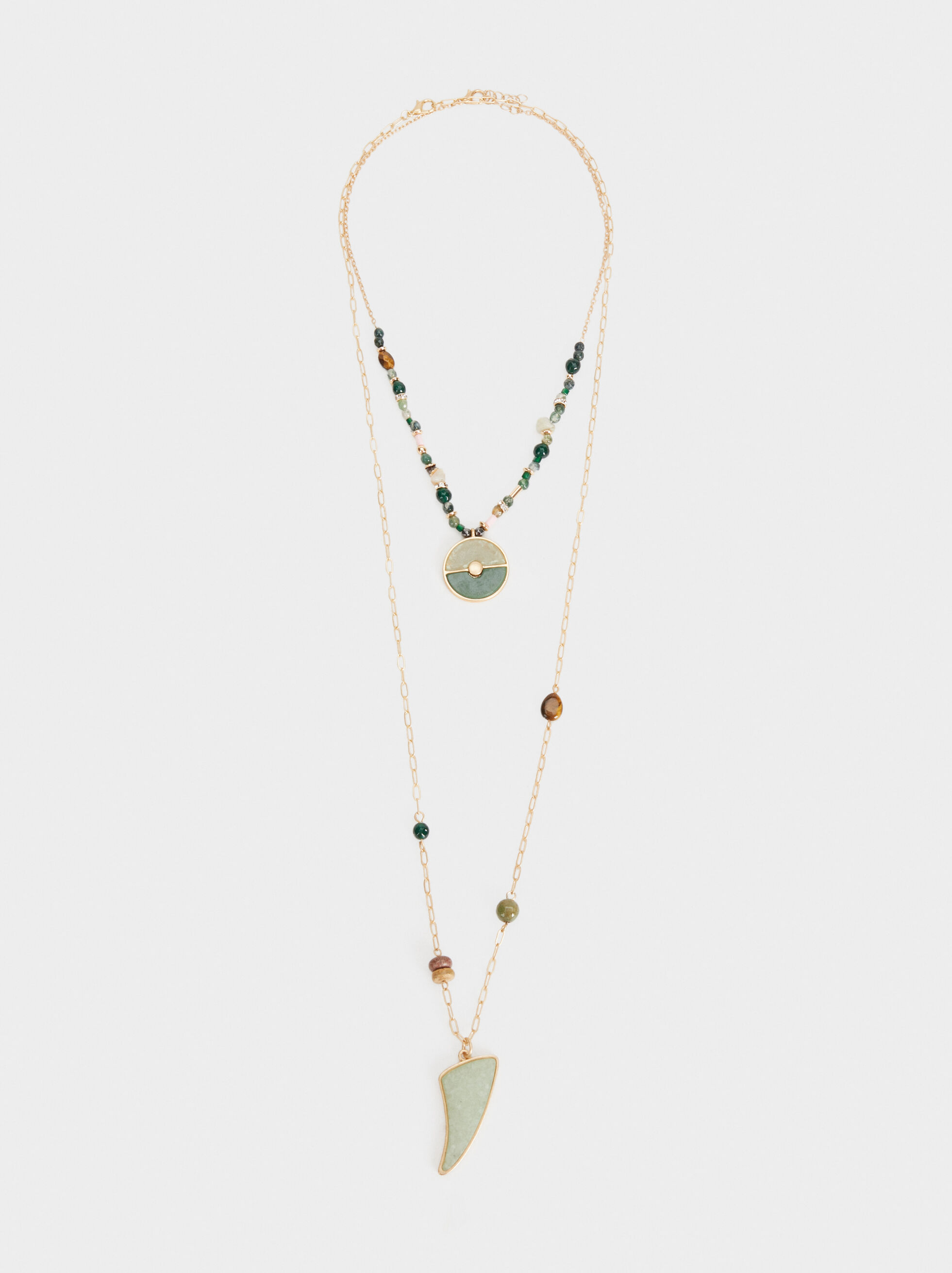 Stone Story Long Necklace With Pendant, Multicolor, hi-res