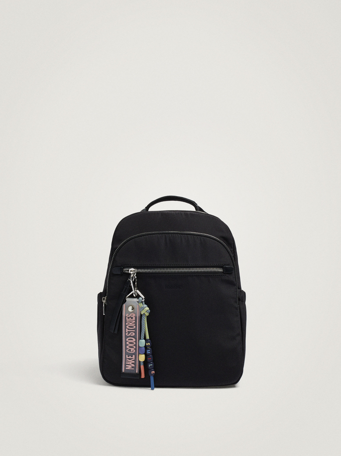 Nylon Backpack With Pendant, Black, hi-res