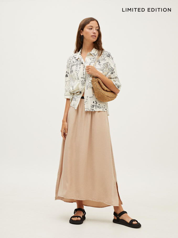 Limited Edition Skirt With An Elastic Waistband, Ecru, hi-res