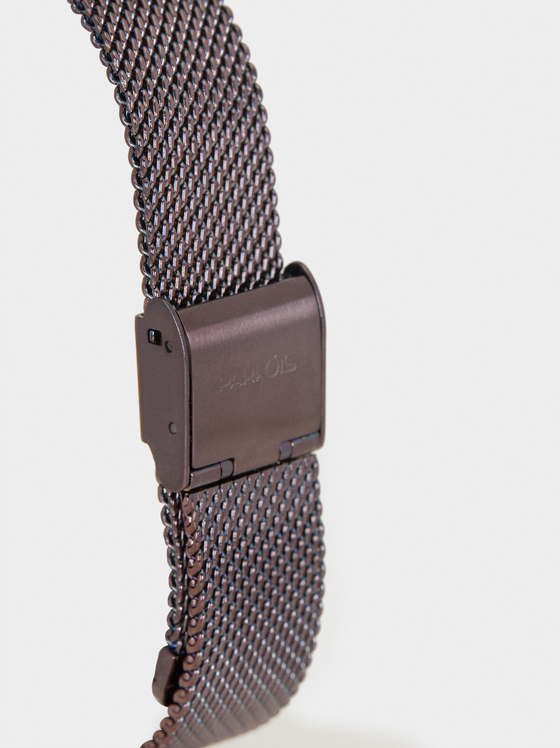 Watch With Metallic Mesh Wristband, Bordeaux, hi-res
