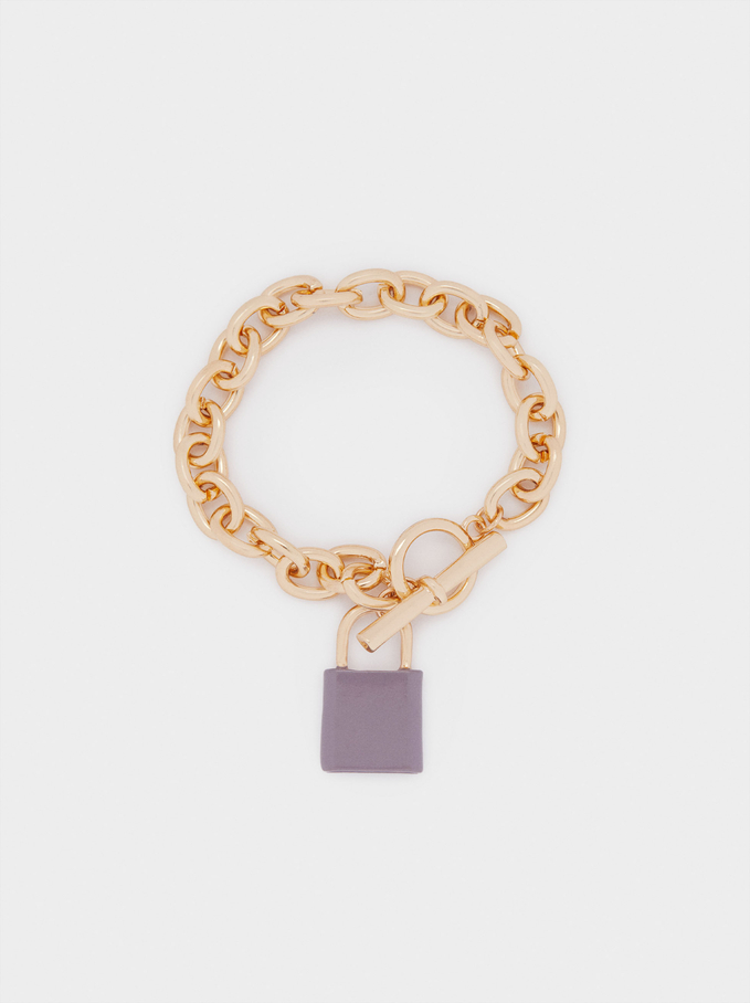 Chain Link Bracelet With Padlock Pendant, Beige, hi-res