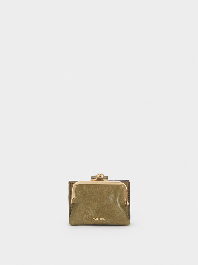 Medium Purse With Golden Details, Khaki, hi-res