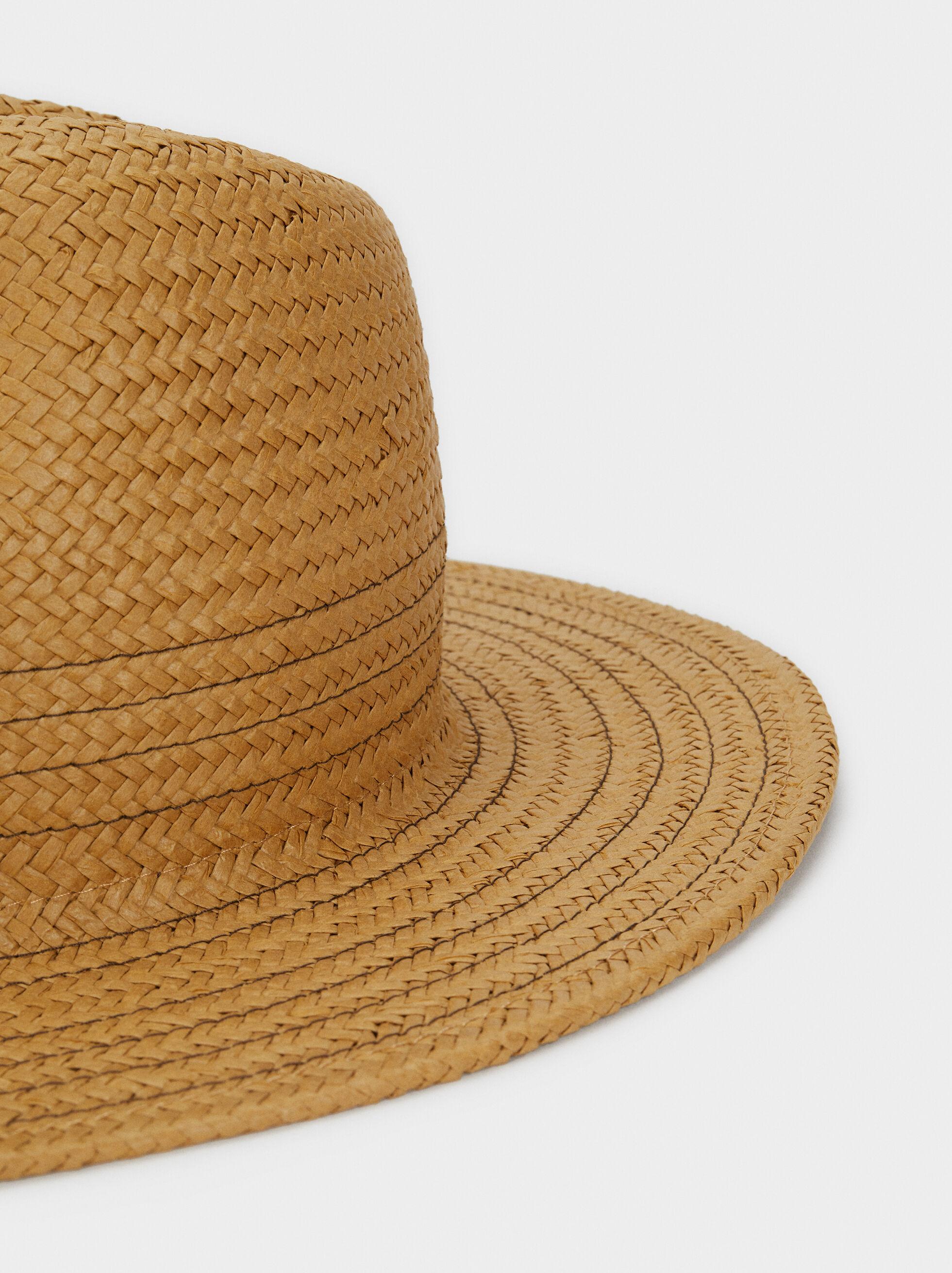 Raffia Texture Hat, Beige, hi-res