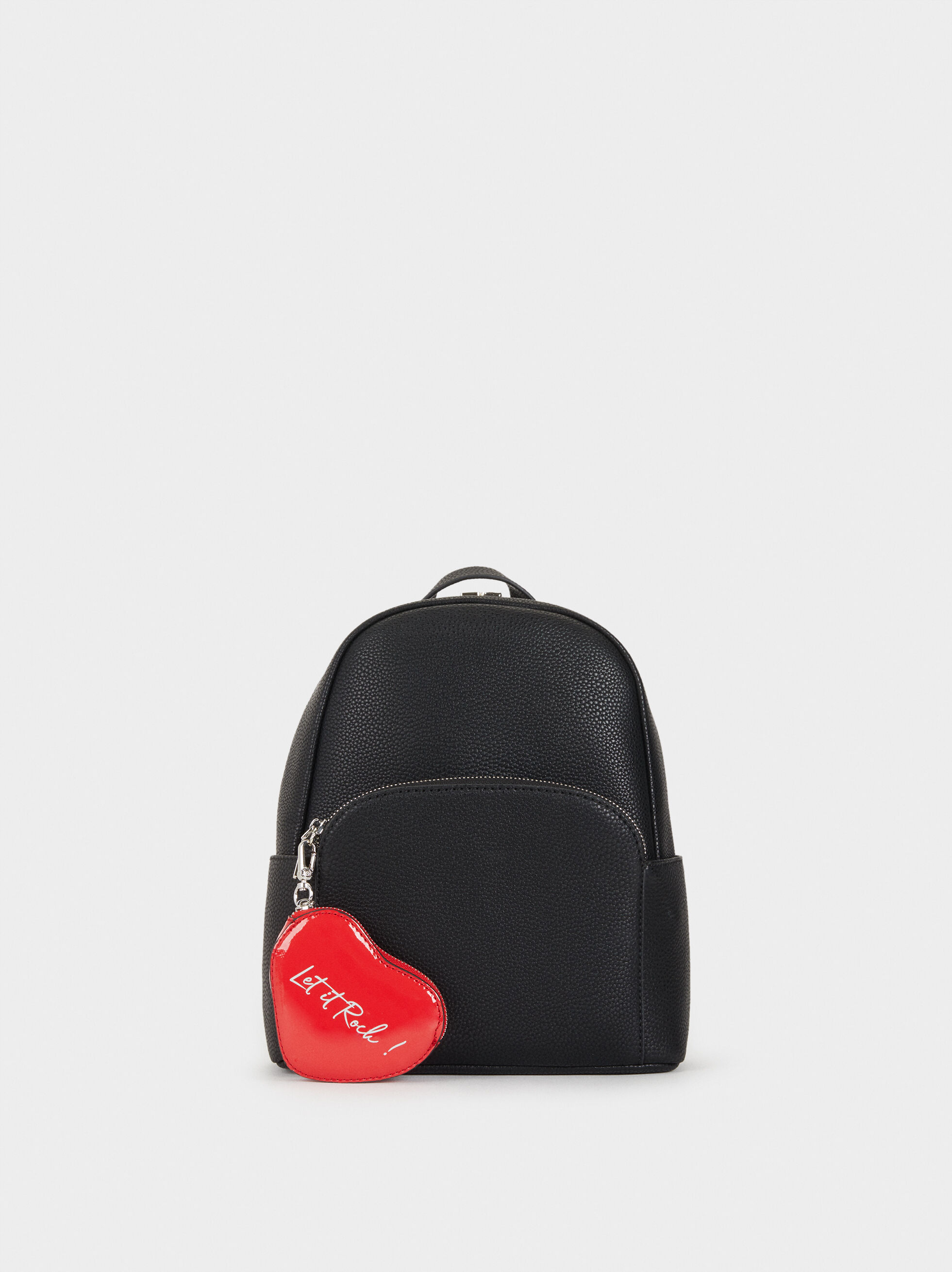 Faux Leather Backpack With Mini Purse, , hi-res