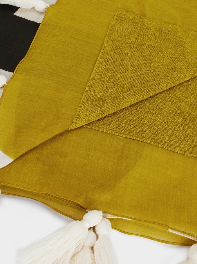 Printed Cotton Beach Towel, Green, hi-res