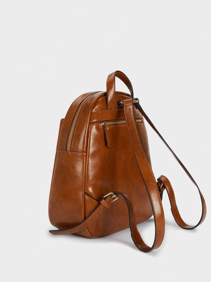 Suede Backpack With Outer Pocket, Camel, hi-res