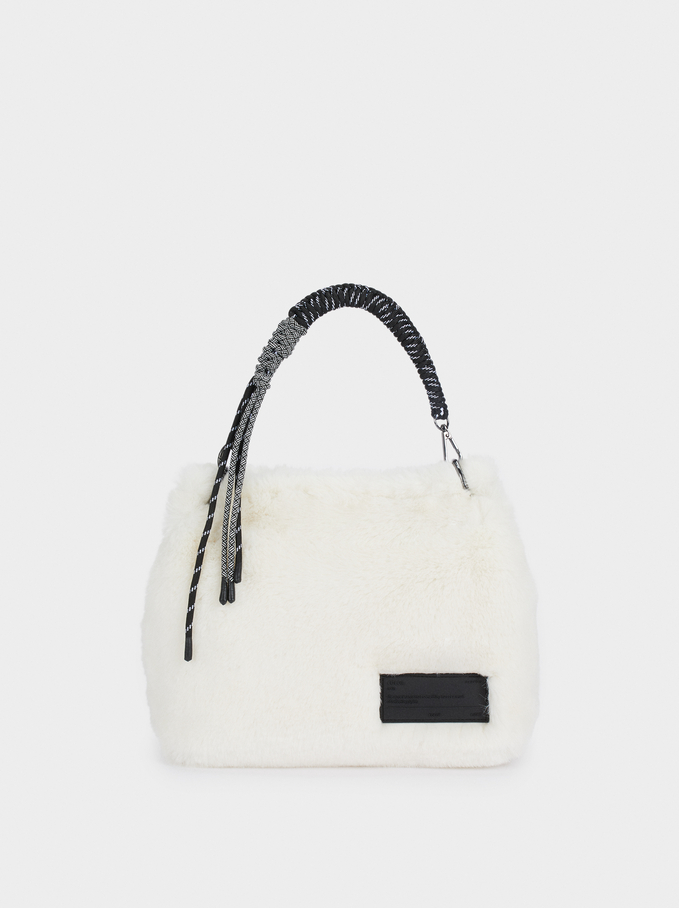 Faux Fur Crossbody Bag With Contrast Strap, Ecru, hi-res