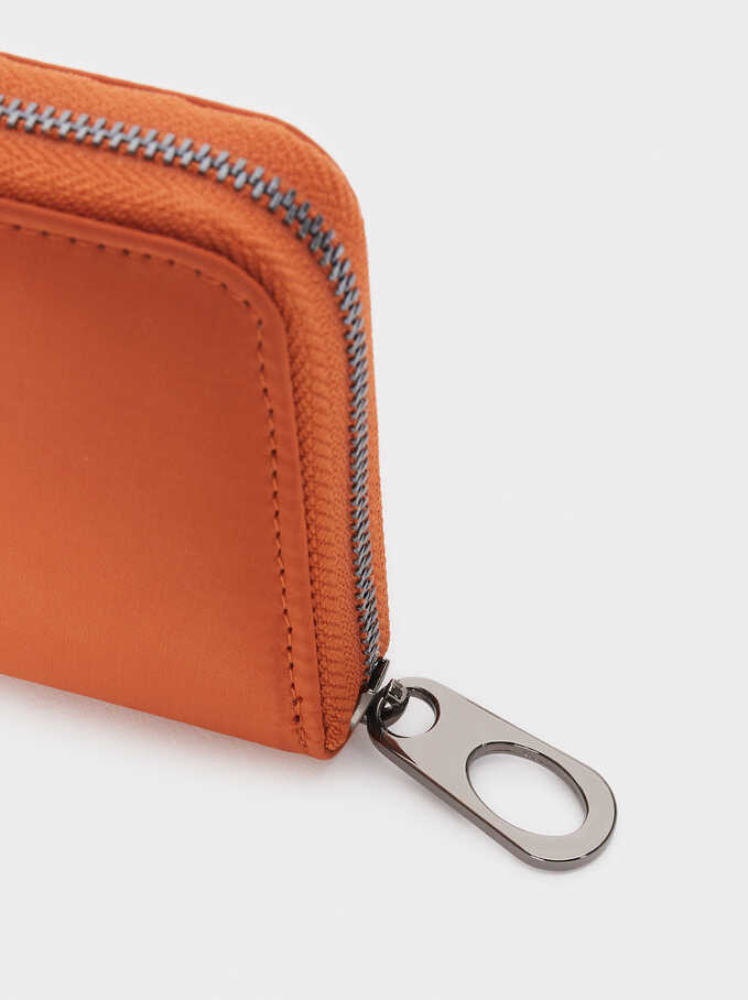 Compact Zipped Purse, Orange, hi-res