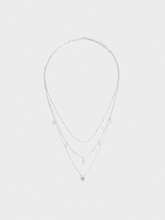 Set Of Silver 925 Necklaces Star With Zirconia, Silver, hi-res