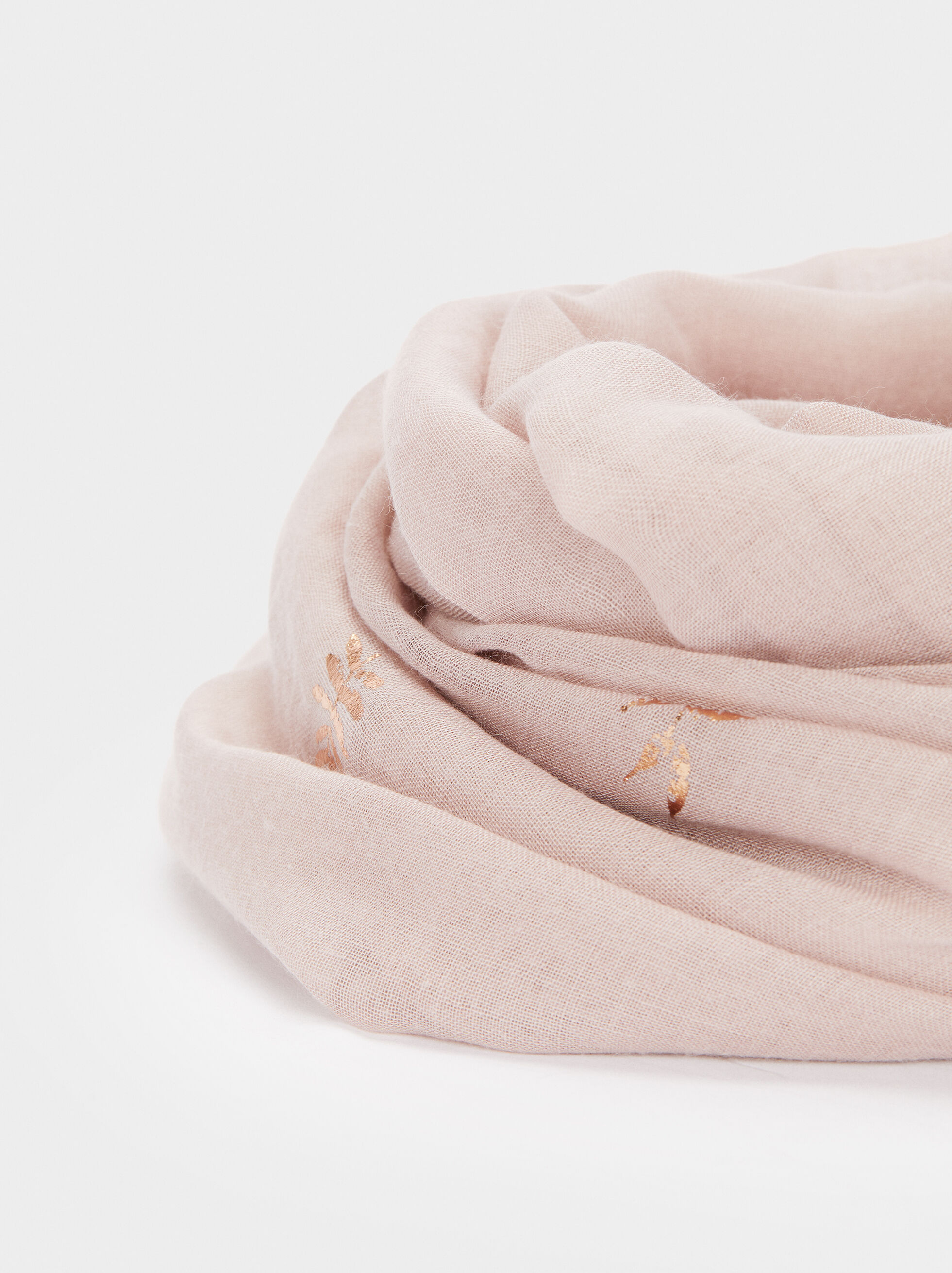 Scarf With Leaf Detailing, Pink, hi-res