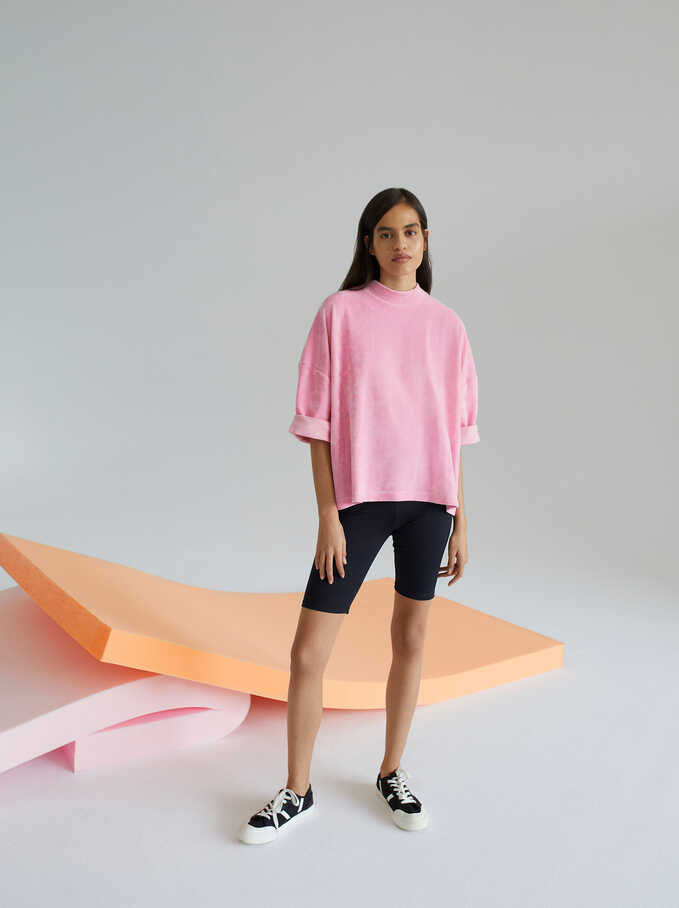 Oversize Plain Sweater, Pink, hi-res