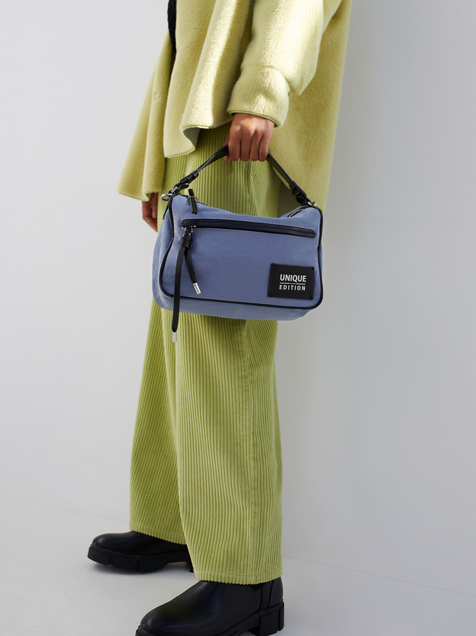 Nylon Crossbody Bag Made From Recycled Materials, Blue, hi-res