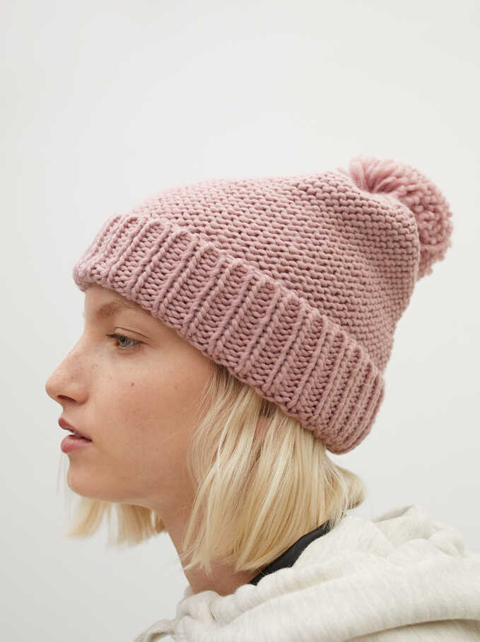 Pompom Beanie Knitted Hat, Pink, hi-res
