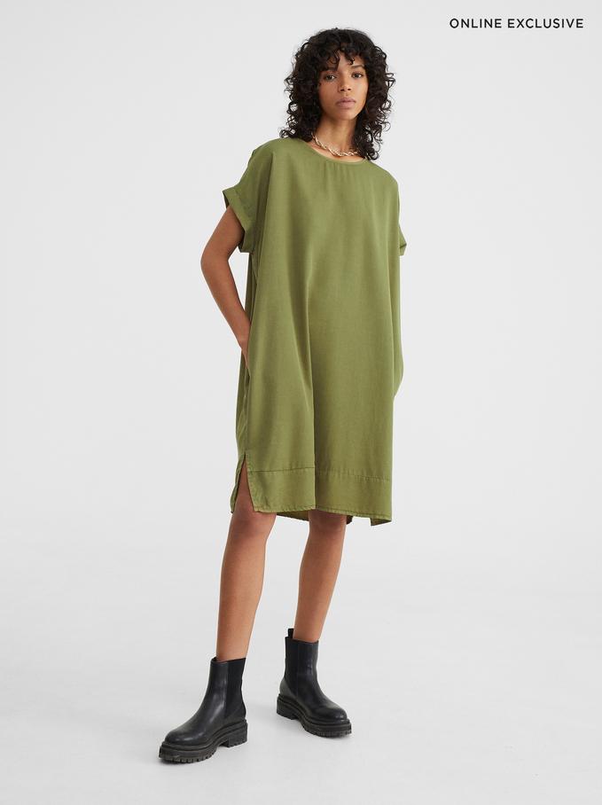 Online Exclusive Round-Neck Dress, Khaki, hi-res