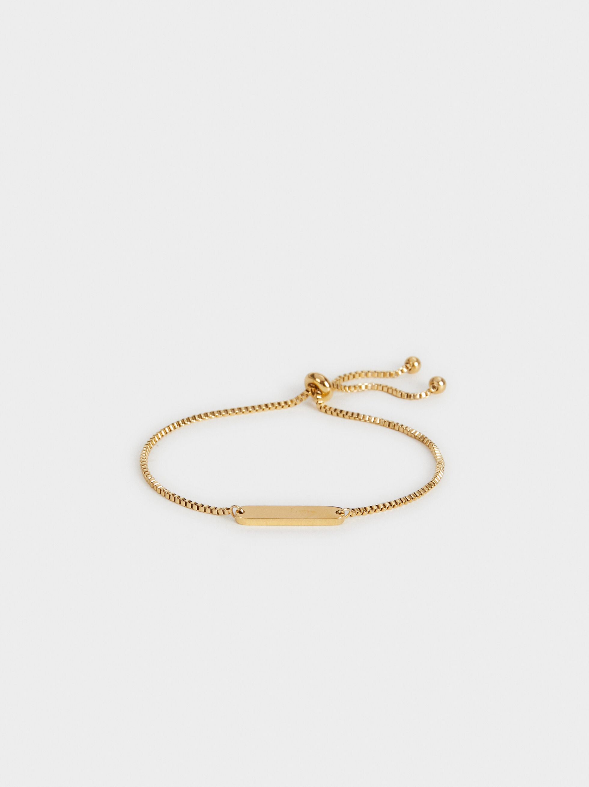Adjustable Steel Bracelet, Golden, hi-res
