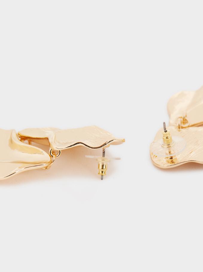 Long Petal Earrings, Golden, hi-res
