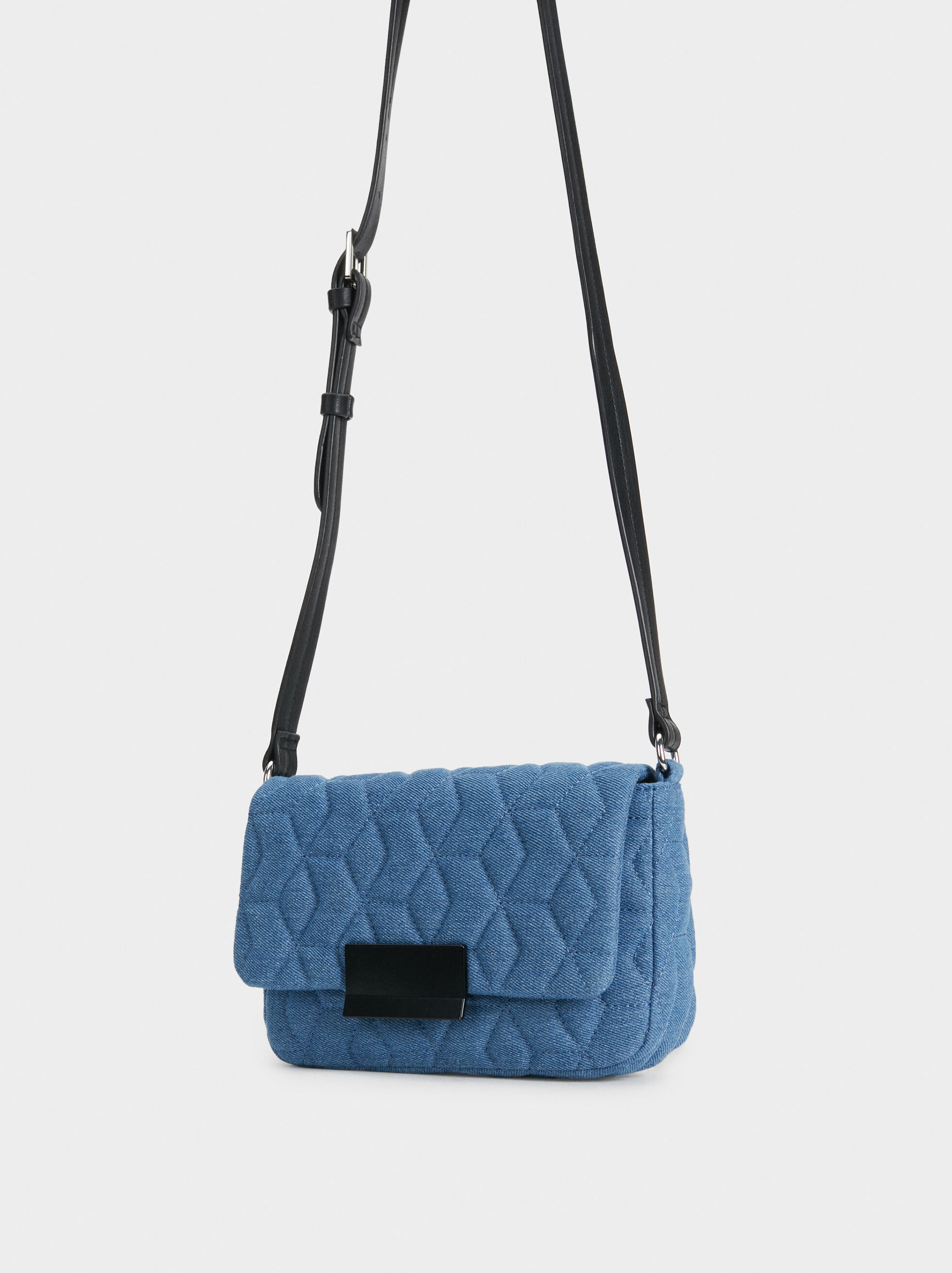 Quilted Denim-Effect Crossbody Bag, Blue, hi-res