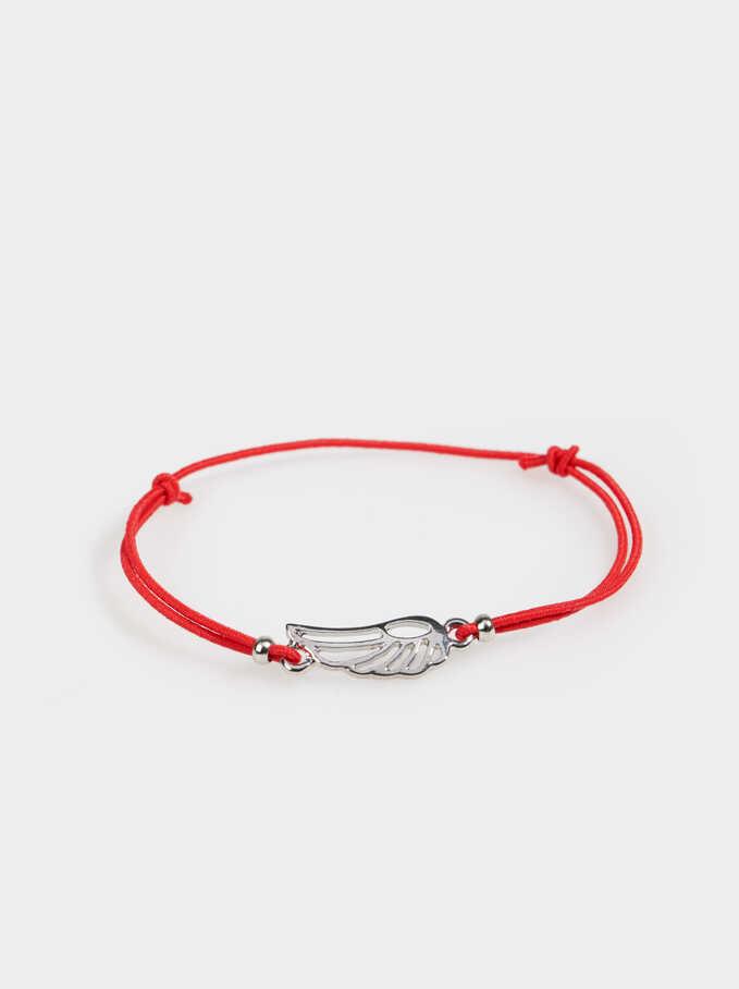 Adjustable Bracelet With Wing Charm, Red, hi-res