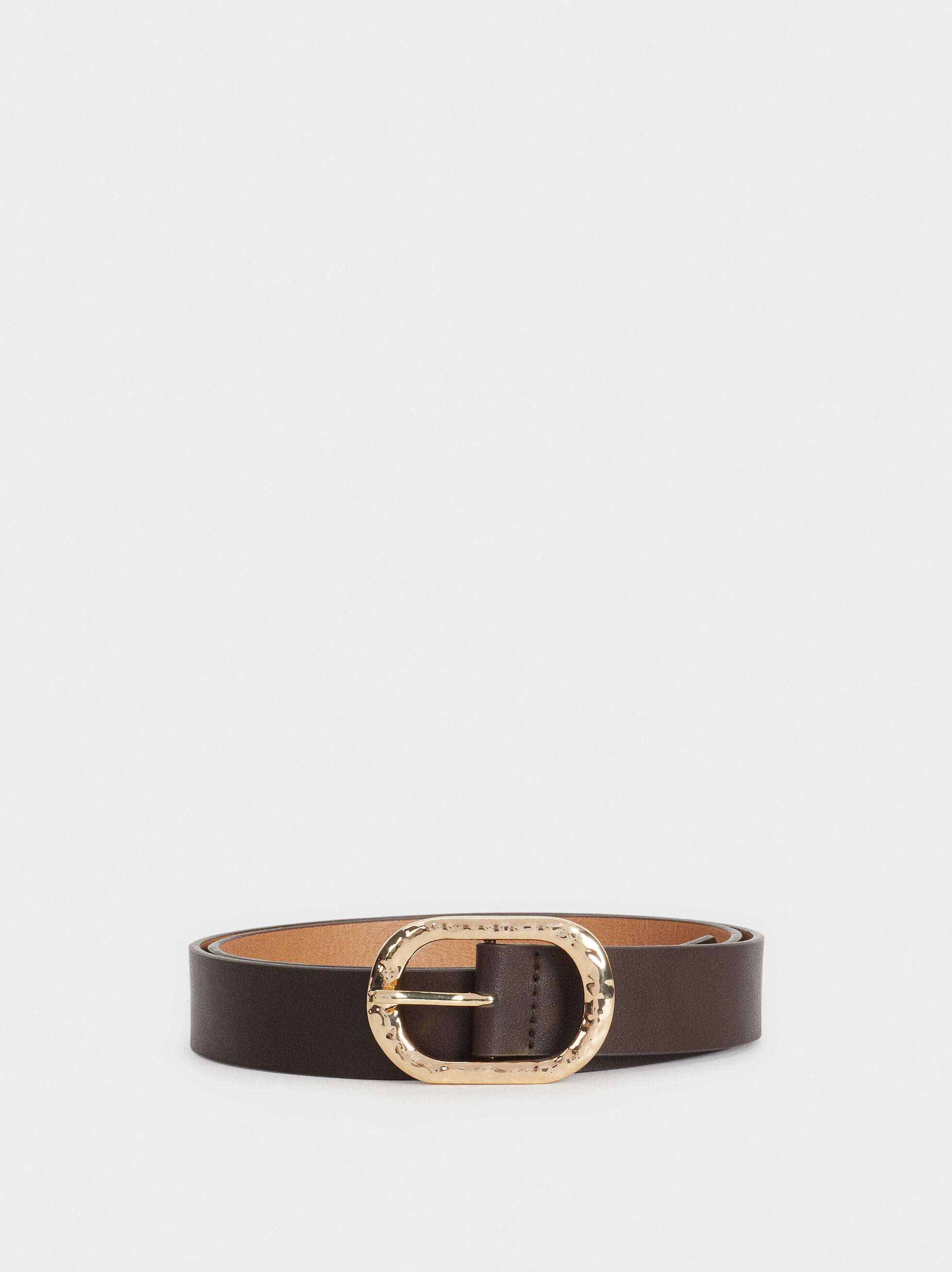 Belt With Buckle Detail, Brown, hi-res
