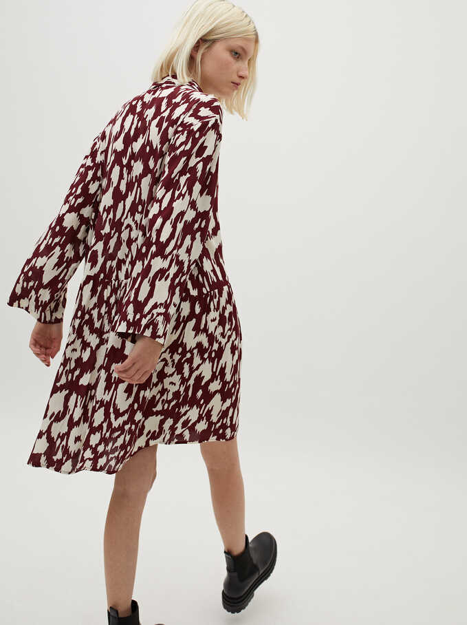 Multi-Coloured Print Shirt Dress, Bordeaux, hi-res