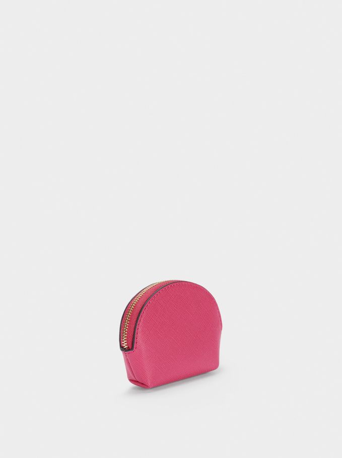 Plain Coin Purse With Zip Fastening, Pink, hi-res
