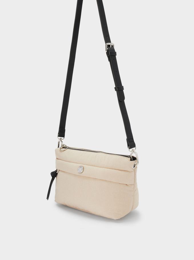 Nylon Crossbody Bag Made From Recycled Materials, Ecru, hi-res