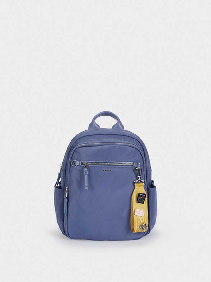 Nylon Backpack With Outside Pocket, Blue, hi-res