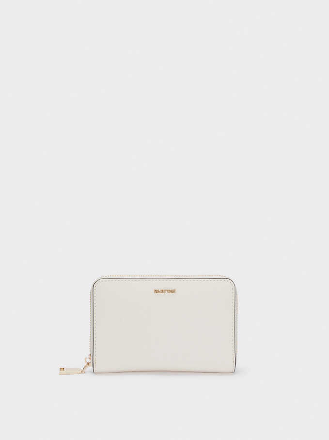 Plain Compact Purse, Ecru, hi-res