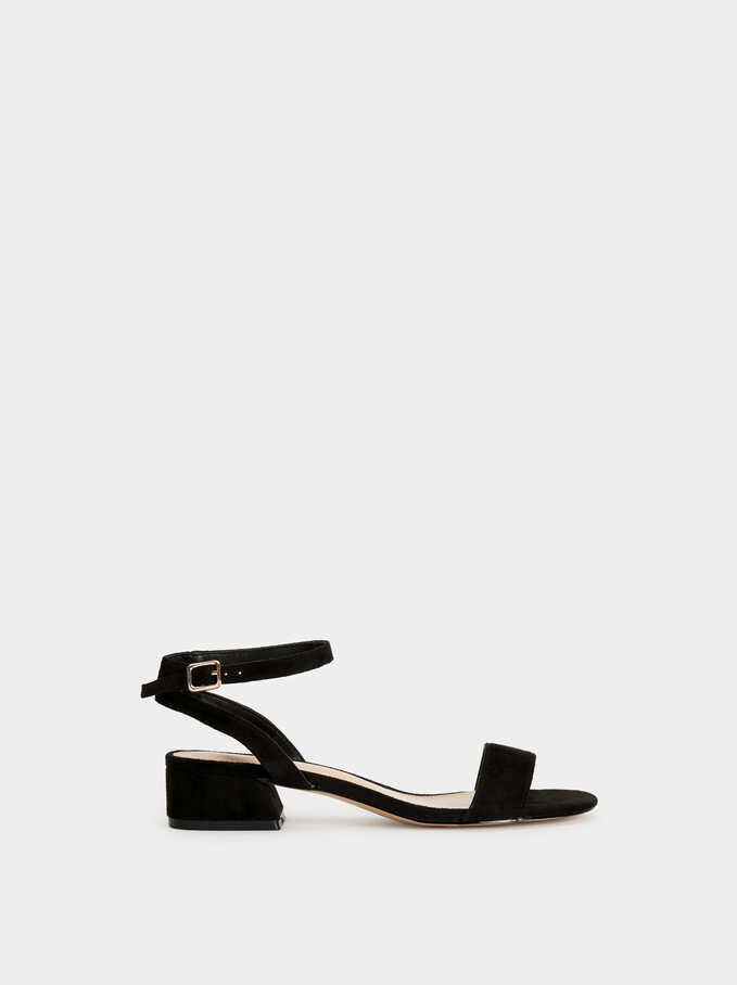 Heeled Faux Suede Sandals, Black, hi-res