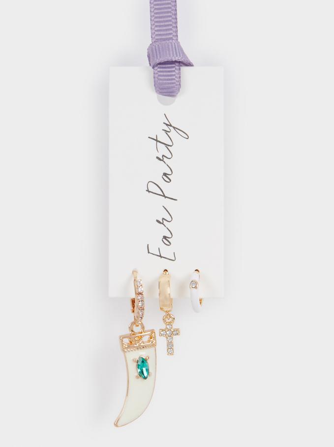 Set Of Horn And Cross Hoop Earrings, Golden, hi-res