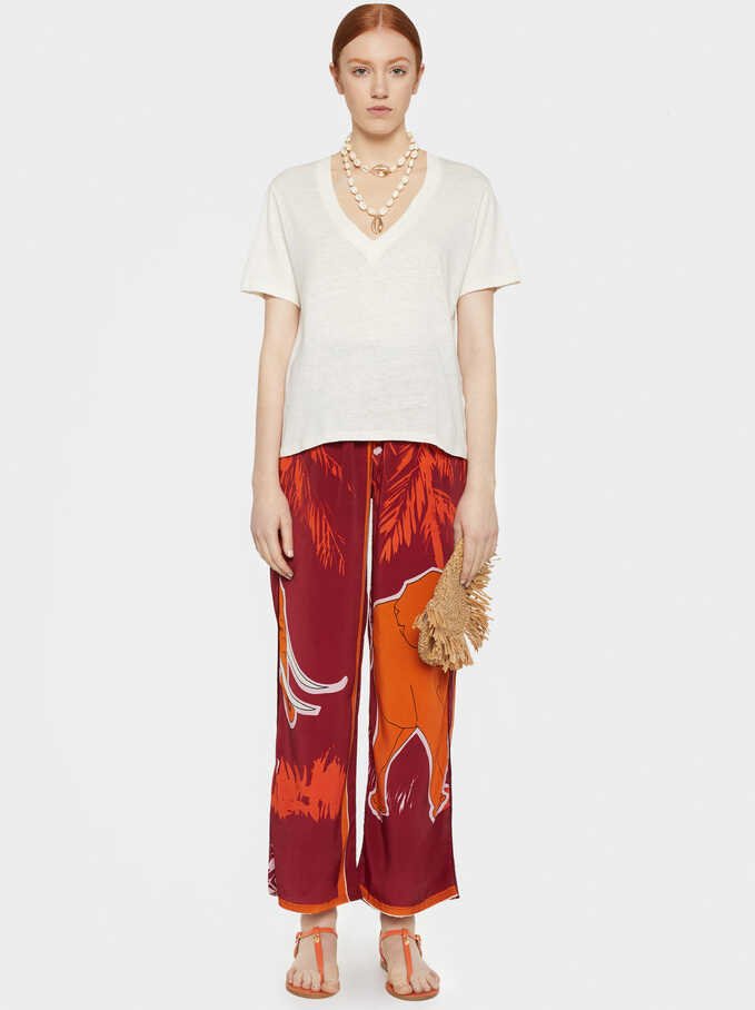 Wide Leg Elephant Print Trousers, Red, hi-res