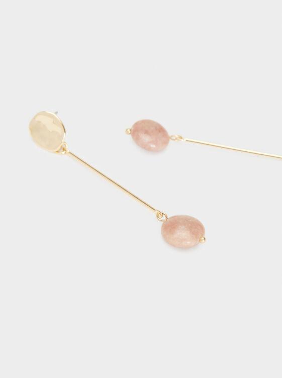 Petrified Long Dangle Earrings, Pink, hi-res