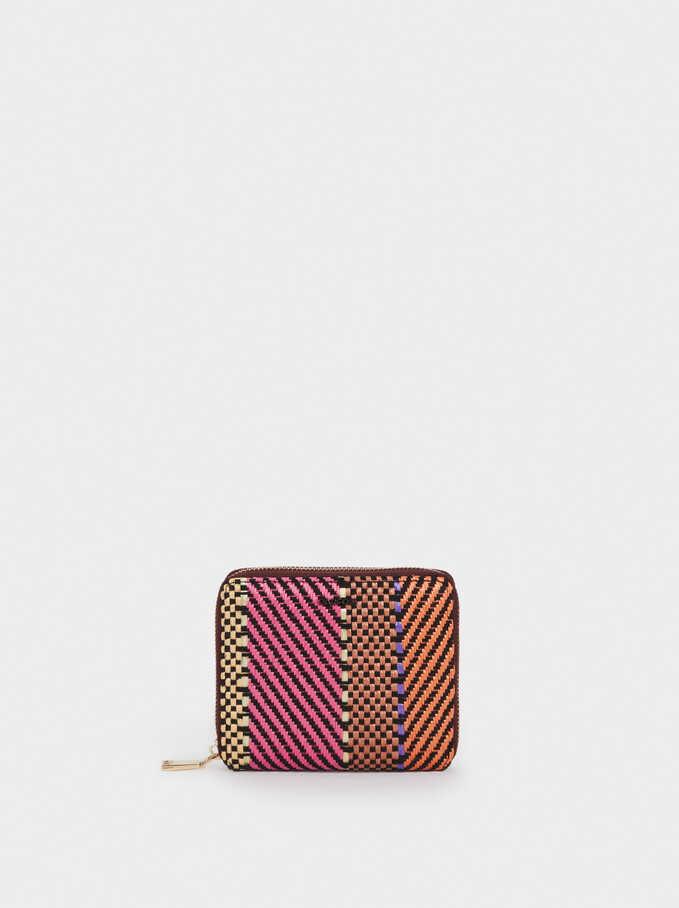 Compact Contrast Wallet, Pink, hi-res