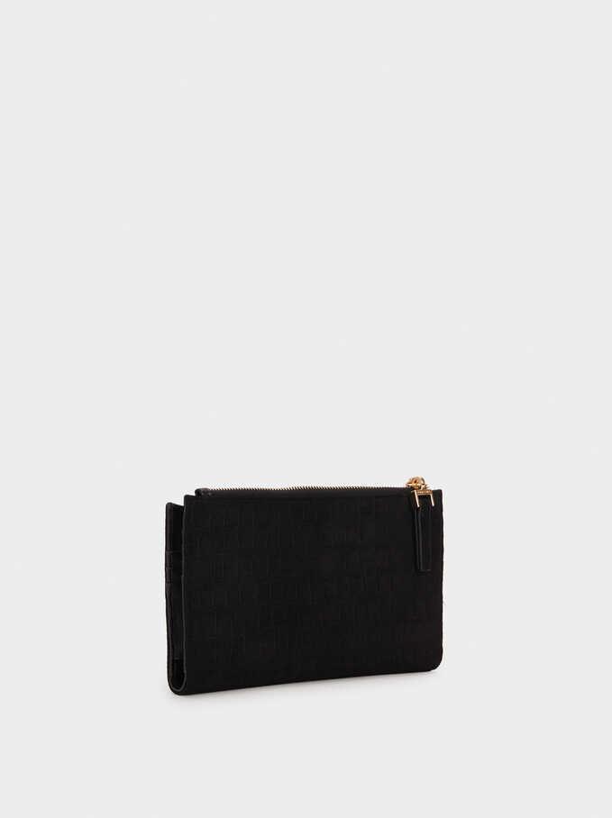 Fake Suede Wallet, Black, hi-res